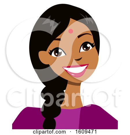Clipart of a Happy Indian Woman Avatar with a Bindi and Braid - Royalty Free Vector Illustration by peachidesigns