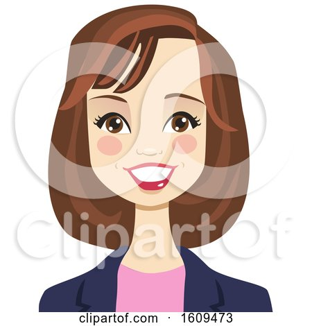 Clipart of a Happy Brunette White Business Woman Avatar - Royalty Free Vector Illustration by peachidesigns