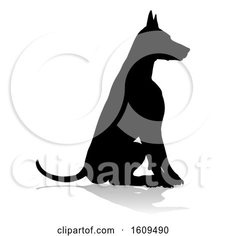 Dog Silhouette Pet Animal, with a Reflection or Shadow, on a White Background by AtStockIllustration
