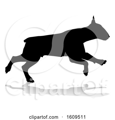 Clipart of a Silhouetted Bull Terrier Dog, with a Reflection or Shadow, on a White Background - Royalty Free Vector Illustration by AtStockIllustration