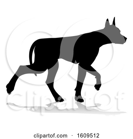 Clipart of a Silhouetted Doberman Dog, with a Reflection or Shadow, on a White Background - Royalty Free Vector Illustration by AtStockIllustration