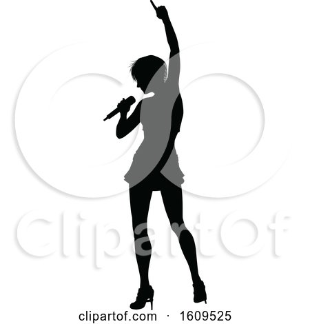 Clipart of a Silhouetted Female Singer - Royalty Free Vector Illustration by AtStockIllustration