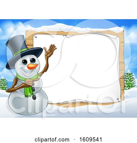 Clipart of a Christmas Snowman by a Blank Sign in a Winter Landscape - Royalty Free Vector Illustration by AtStockIllustration