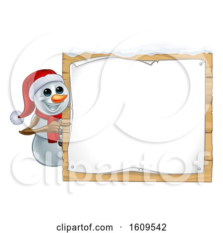 Clipart of a Christmas Snowman Wearing a Scarf and a Santa Hat by a Sign - Royalty Free Vector Illustration by AtStockIllustration