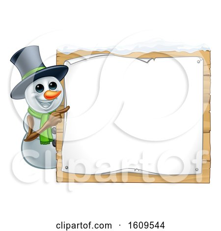 Clipart of a Christmas Snowman Wearing a Scarf and a Top Hat by a Blank Sign - Royalty Free Vector Illustration by AtStockIllustration