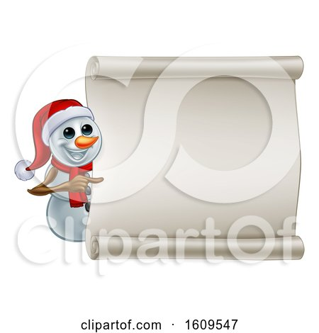 Clipart of a Christmas Snowman Wearing a Scarf and a Santa Hat by a Blank Scroll - Royalty Free Vector Illustration by AtStockIllustration