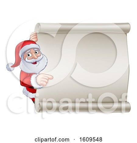 Clipart of a Cartoon Christmas Santa Claus Pointing Around a Blank Scroll Sign - Royalty Free Vector Illustration by AtStockIllustration
