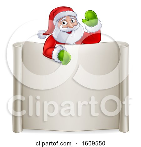 Clipart of a Cartoon Christmas Santa Claus Waving over a Blank Scroll Sign - Royalty Free Vector Illustration by AtStockIllustration
