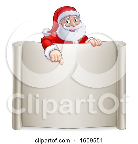 Clipart of a Cartoon Christmas Santa Claus Pointing down over a Blank Scroll Sign - Royalty Free Vector Illustration by AtStockIllustration