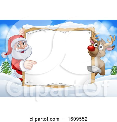 Clipart of a Christmas Santa Claus and Reindeer with a Blank Sign in a Winter Landscape - Royalty Free Vector Illustration by AtStockIllustration