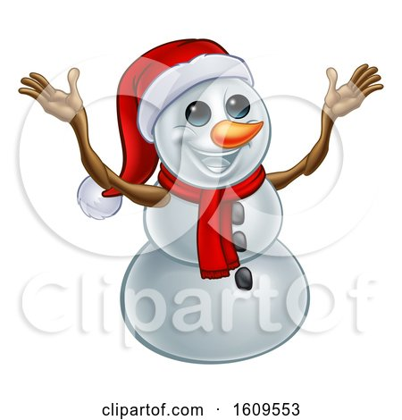 Clipart of a Welcoming Christmas Snowman Wearing a Scarf and a Santa Hat - Royalty Free Vector Illustration by AtStockIllustration