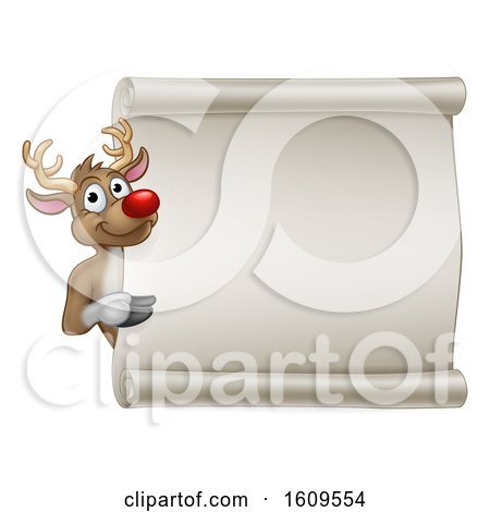 Christmas Reindeer Cartoon Sign by AtStockIllustration