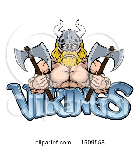 Clipart of a Muscular Blond Male Viking Warrior Holding Axes over Text - Royalty Free Vector Illustration by AtStockIllustration