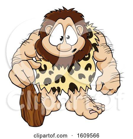 Caveman Cartoon Character by AtStockIllustration