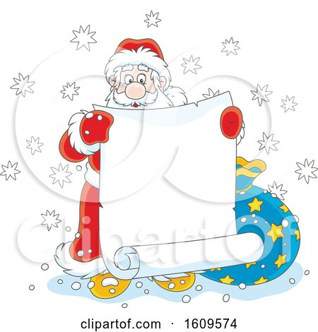 Christmas Clipart of Santa Claus Holding a Blank Scroll Banner - Royalty Free Vector Illustration by Alex Bannykh