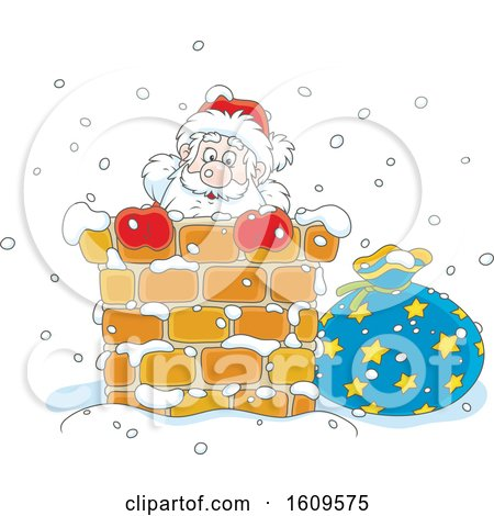 Christmas Clipart of Santa Claus Climbing down a Chimney in the Snow - Royalty Free Vector Illustration by Alex Bannykh