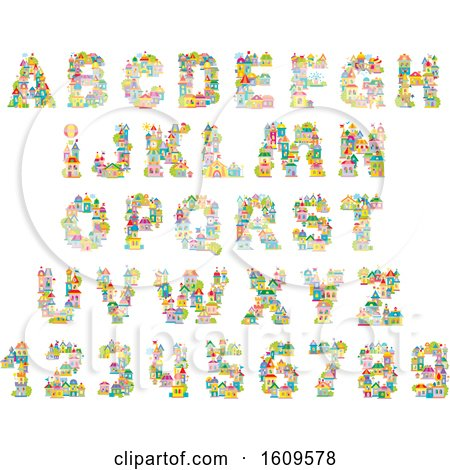 Clipart of Capital Alphabet Letters and Numbers Made of Buildings - Royalty Free Vector Illustration by Alex Bannykh