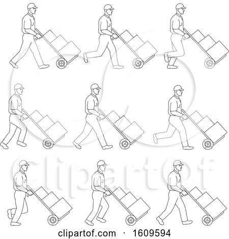 Clipart of a Sketched Sequence of a Delivery Worker Pushing a Dolly - Royalty Free Vector Illustration by patrimonio