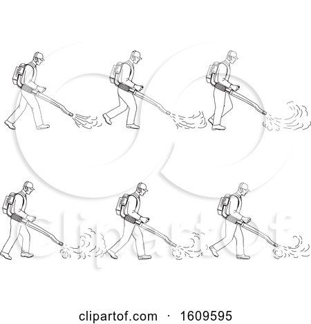 Clipart of a Sketched Sequence of a Gardener Using a Blower - Royalty Free Vector Illustration by patrimonio