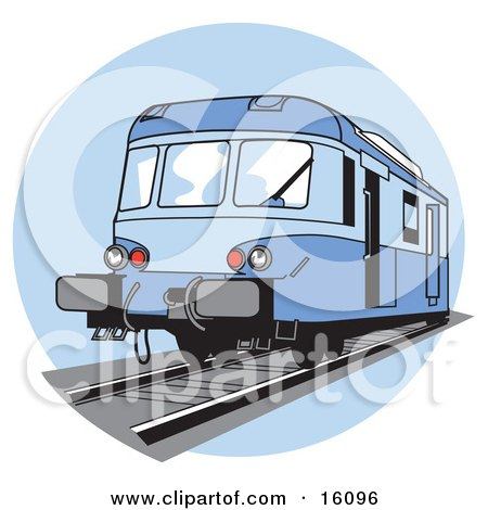 Royalty-free transportation clipart picture of a blue train on tracks.