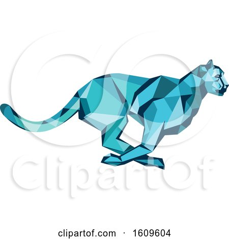 Clipart of a Blue Low Poly Geometric Cheetah Running - Royalty Free Vector Illustration by patrimonio