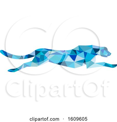 Clipart of a Blue Geometric Cheetah Running - Royalty Free Vector Illustration by patrimonio