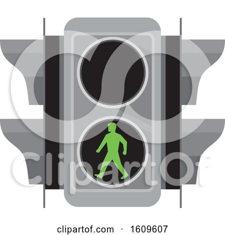 Clipart of a Traffic Signal Light with Green Man Walking for Pedestrian Crossing - Royalty Free Vector Illustration by patrimonio
