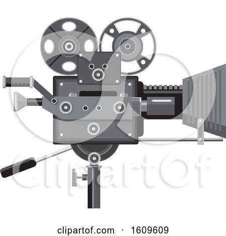 Clipart of a Vintage Movie Film Camera - Royalty Free Vector Illustration by patrimonio