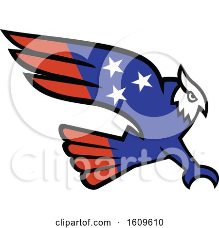 Clipart of a Swooping American Themed Great Horned Owl - Royalty Free Vector Illustration by patrimonio