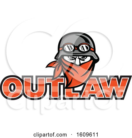 Clipart of a Tough Male Outlaw Biker Wearing a Vintage Helmet and Bandana over Outlaw Text - Royalty Free Vector Illustration by patrimonio