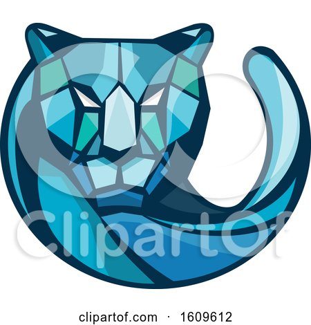 Clipart of a Blue Geometric Cheetah Mascot Head and Tail - Royalty Free Vector Illustration by patrimonio