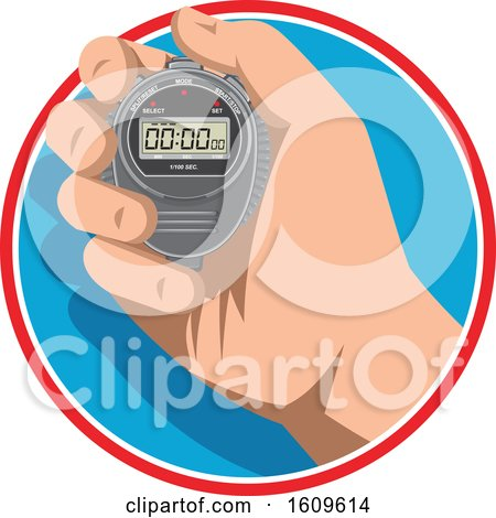 Clipart of a Hand Holding a Digital Stopwatch Timer - Royalty Free Vector Illustration by patrimonio