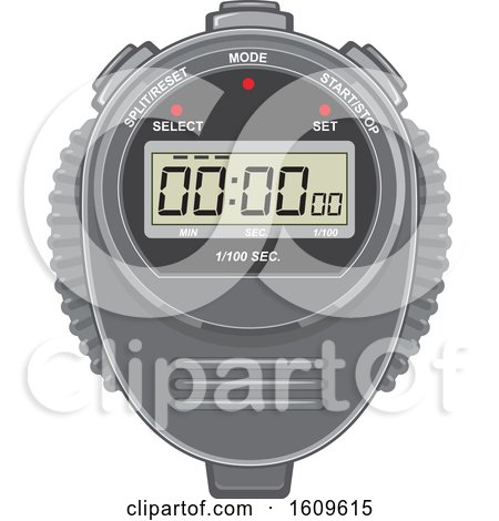 Clipart of a Digital Stopwatch Timer - Royalty Free Vector Illustration by patrimonio