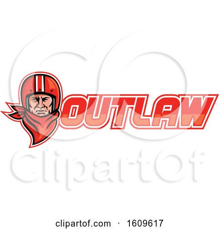 Clipart of a Male Biker Wearing a Vintage Helmet and Red Bandana over Outlaw Text - Royalty Free Vector Illustration by patrimonio