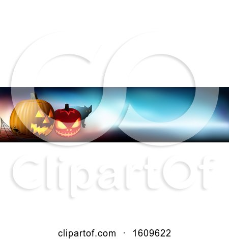 Clipart of a Halloween Website Banner Design - Royalty Free Vector Illustration by dero