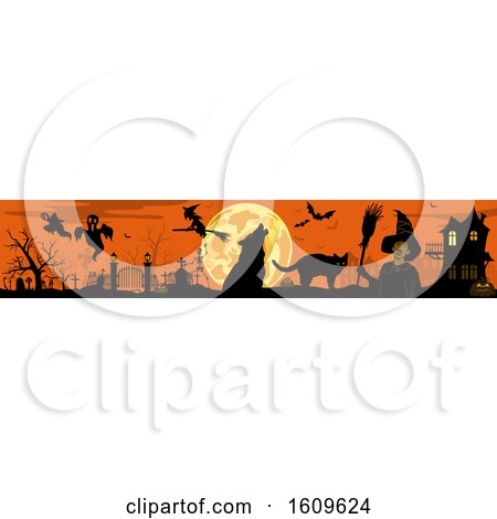 Clipart of a Horizontal Halloween Border - Royalty Free Vector Illustration by dero