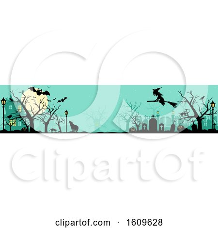 Clipart of a Halloween Website Banner with Silhouettes - Royalty Free Vector Illustration by dero