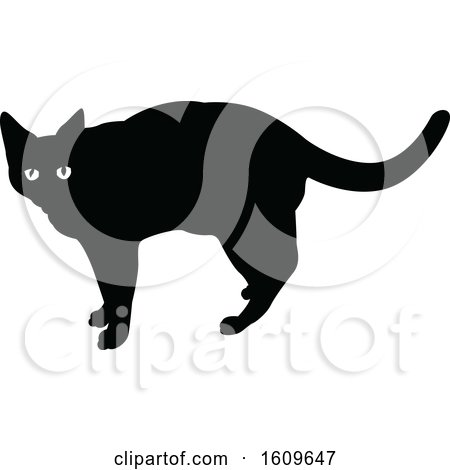 Clipart of a Halloween Cat Black and White Silhouette - Royalty Free Vector Illustration by dero