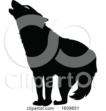 Clipart of a Halloween Howling Wolf Black and White Silhouette - Royalty Free Vector Illustration by dero