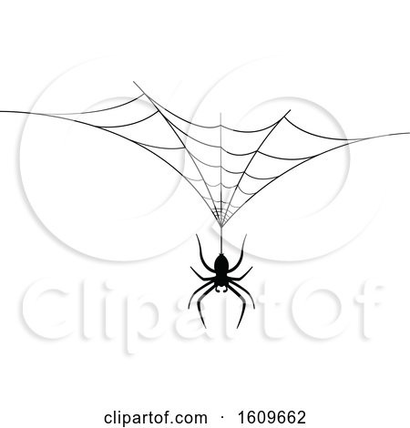 Clipart of a Halloween Spider Dangling from a Web Black and White Silhouette - Royalty Free Vector Illustration by dero