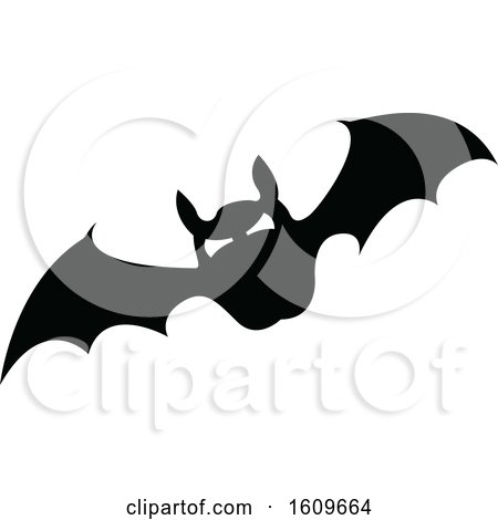 Clipart of a Halloween Vampire Bat Black and White Silhouette - Royalty Free Vector Illustration by dero