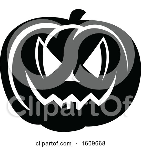 Clipart of a Halloween Jackolantern Pumpkin Black and White Silhouette - Royalty Free Vector Illustration by dero