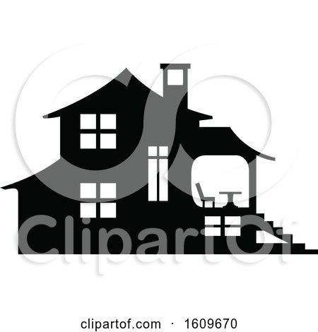 Clipart of a Halloween Haunted House Black and White Silhouette - Royalty Free Vector Illustration by dero