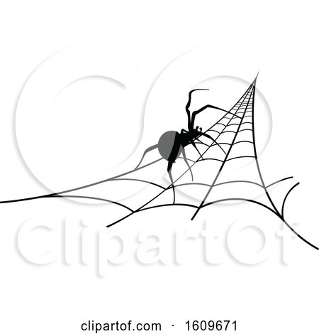 Clipart of a Halloween Spider on a Web Black and White Silhouette - Royalty Free Vector Illustration by dero
