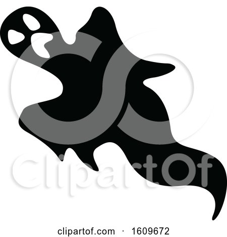 Clipart of a Halloween Ghost Black and White Silhouette - Royalty Free Vector Illustration by dero
