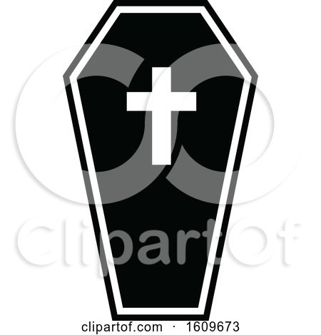 Clipart of a Halloween Coffin Black and White Silhouette - Royalty Free Vector Illustration by dero