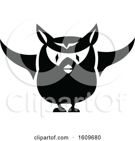 Clipart of a Halloween Owl Black and White Silhouette - Royalty Free Vector Illustration by dero