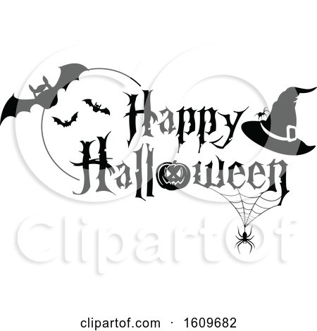 Clipart of a Happy Halloween Greeting with Spiders Bats and a Witch Hat in Black and White - Royalty Free Vector Illustration by dero