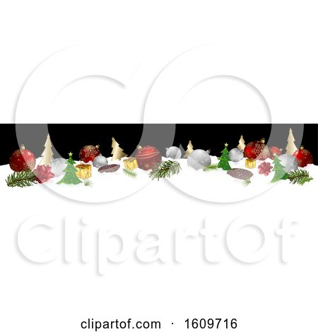 Clipart of a 3d Christmas Website Banner with Baubles and Decorations in Snow - Royalty Free Vector Illustration by dero
