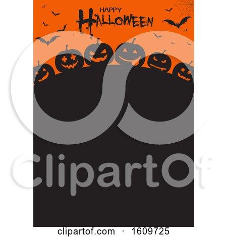 Halloween Menu Design with Pumpkins and Bats by KJ Pargeter